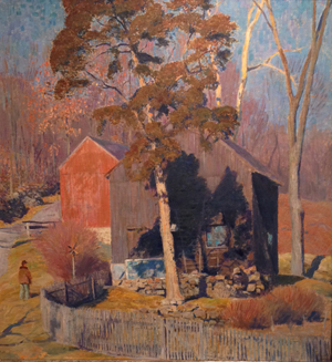 Daniel Garber (American 1880-1958), 'Red Barn,' 1948-1951, oil on canvas, signed. Estimate: $350,000-$550,000. Keno Auctions image.