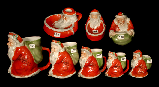 The Friday, Nov. 8, session will be dedicated to Royal Bayreuth, to include 14 figural Santas. Woody Auction image.