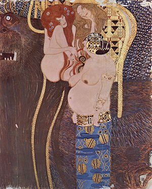 Detail from The Beethoven Frieze in Vienna, created by Gustav Klimt (1862-1918) in 1902. Image obtained from The Yorck Project. US public domain; painting has a copyright term of author's lifetime plus 70 years maximum.