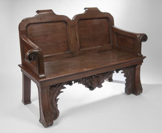 The George II mahogany bench brought £37,000 ($59,828). Sworders Fine Art Auctioneers image.