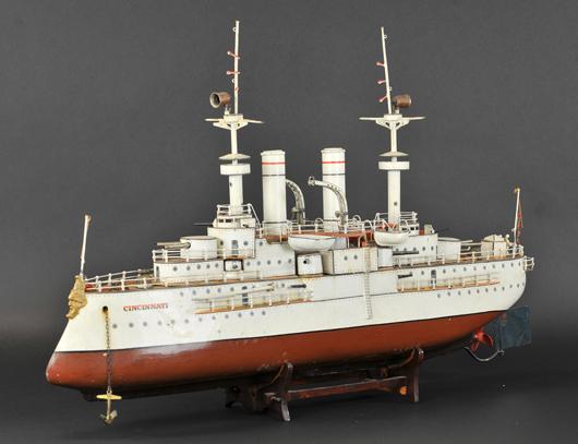 Marklin 2nd Series 'Cincinnati' battleship, circa 1912-1915, 34in long. Est. $40,000-$60,000. Bertoia Auctions image.
