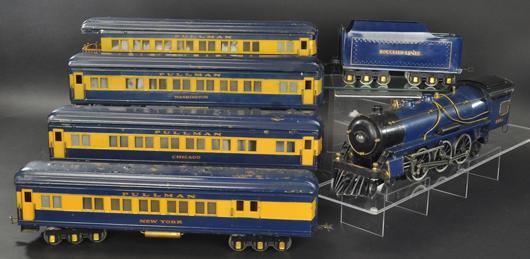 Boucher #2500 locomotive passenger set. Est. $15,000-$20,000. Bertoia Auctions image.