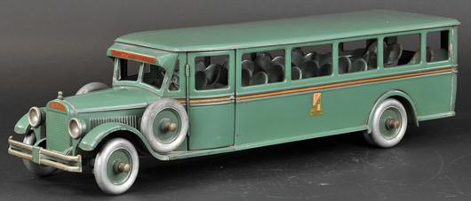 Buddy 'L' Passenger Bus #208, circa 1927-1932, 29in long. Est. $3,000-$4,000. Bertoia Auctions image.