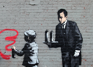 On Sunday, Oct. 20, 2013, this Banksy artwork titled 'Ghetto 4 Life' appeared in New York's South Bronx. Image courtesy of Banksy.