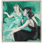 McClelland Barclay (American, 1891-1943), 'Lydia & Sophie,' signed, oil on canvas, 30 x 28 inches. Auction Gallery of the Palm Beaches.