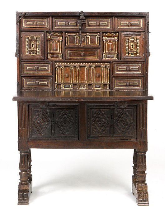 A fantastic Spanish walnut vargueno, dating to the 17th century, is expected to hammer between $4,000 and $6,000. John Moran Auctioneers image.