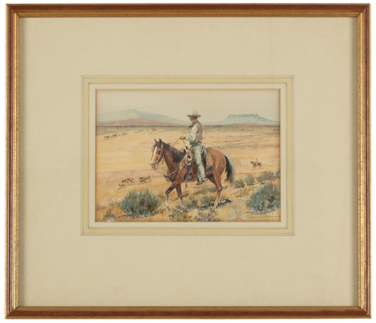 'The Trail Boss,' a watercolor by Western genre master Edward Borein, is one of an extensive collection of works slated for sale by the artist (estimate: $20,000 to $30,000). John Moran Auctioneers image.