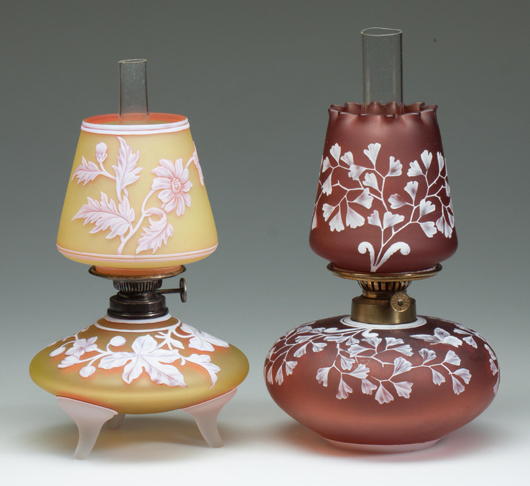 Rare English cameo miniature lamps from the Hulsebus collection. Jeffrey S. Evans & Associates image.
