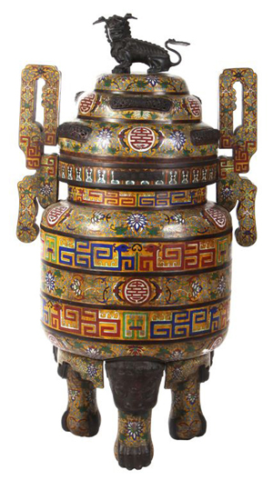 Lot 1: 19th/20th century Chinese palace-size cloisonné censer. Gray's Auctioneers and Appraisers image.