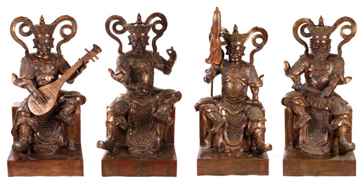 Lot 4: group of four oversize Chinese brass warrior heavenly kings. Gray's Auctioneers and Appraisers image.