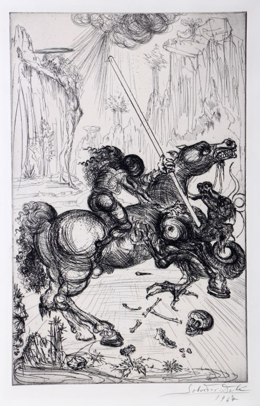 Lot 59: Salvador Dali (1904-1989) etching on wove paper of St. George slaying the dragon, dated 1947. Gray's Auctioneers and Appraisers image.