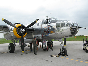 The Yankee Air Museum's Yankee Warrior is one of only two B-25C/D Mitchell aircraft still flying today. Image by Dustin M. Ramsey, courtesy of Wikimedia Commons.