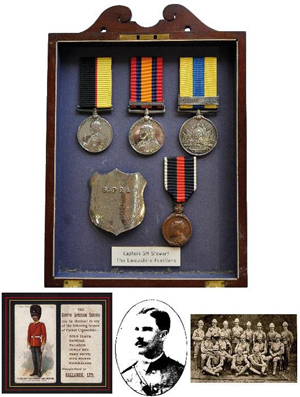 Important Boer War Officer Casualty Group of four awarded to Capt. Gilbert MacDonald Stewart, 2nd Battalion Lancashire Fusiliers, killed in action at Spion Kop. Estimate: £3,000-£4,000. Baldwin's and Dreweatts image.