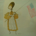 P. Buckley Moss original 'Flag Girl' watercolor, signed in pencil LR, dated 1983. Image courtesy LiveAuctioneers.com Archive and Phoebus Auction Gallery.