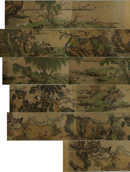 Lot 72: Chinese long 100 birds silk painting, Shen Quan. Estimate: $20,000-$25,000. 888 Auctions image.