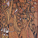 Lot 51: Prince Twins Seven Seven (Nigeria, 1944-2011), 'Conference of Noisy Birds,' ink, watercolor and oil on wood, a sculptor's painting on two carved and tiered layers of wood; Osogbo, 1978-1979, 4 x 8 feet. Estimate: $8,000-$12,000. Material Culture image.