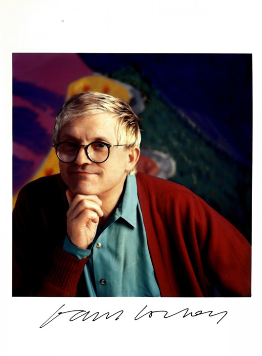 British artist David Hockney. This photograph. autographed by Hockney, will be sold by International Autograph Auctions Ltd. in London on Sunday, Nov. 3. Image courtesy of LiveAuctioneers.com and International Autograph Auctions Ltd.