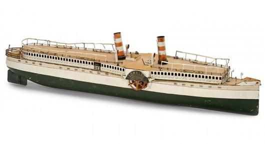 Marklin Loreley clockwork toy boat. Auction Team Breker image.