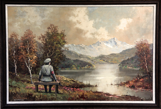 English artist Banksy's 'The banality of the banality of evil,' a 2013 oil on oil on canvas. The thrift store painting was vandalized, then re-donated to the thrift store. It has been authenticated by Banksy and is being auctioned online to benefit the New York City charity Housing Works. Image courtesy of Banksy.