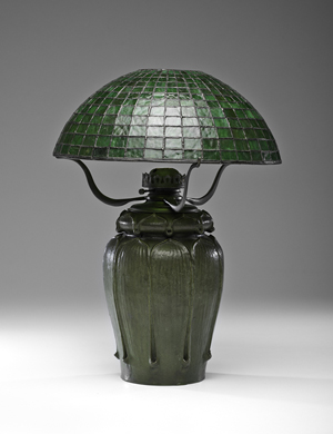 Grueby Pottery Kendrick vase with leaded glass shade. Estimate: $28,000-$30,000. Cowan's Auctions Inc. image.