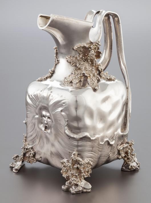 German silver repoussé water pitcher, circa 1900, marks: '800,' (crescent-crown), 9-1/8 x 6 x 6-3/4 inches (23.2 x 15.2 x 17.1 cm), 50.5 ounces. Estimate: $3,000-$5,000. Heritage Auctions image.
