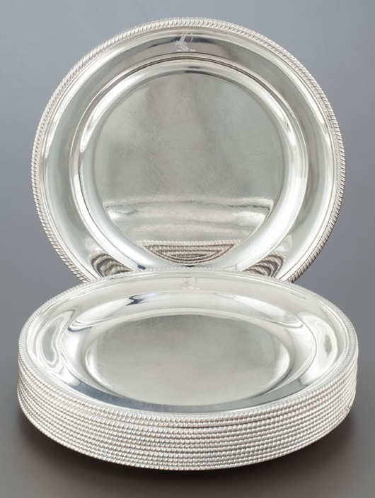Set of 12 George III silver plates, Paul Storr, London, England, circa 1799-1800 9-5/8 inches diameter (24.4 cm), 208.3 ounces. Estimate: $20,000-$30,000. Heritage Auctions image.