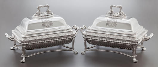 Pair of George III silver entrée dishes on silver-plated stands, Paul Storr, London, England, circa 1809-1810, 10 x 16 x 9 inches (25.4 x 40.6 x 22.9 cm) 173.3 ounces. Estimate: $20,000-$30,000. Heritage Auctions image.