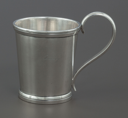 Samuel Bell & Brothers coin silver cup, Samuel Bell & Brothers, San Antonio, Texas, circa 1865, 3-3/4 inches high (9.5 cm), 10.1 ounces, inscribed 'Tommy.' Estimate: $3,000-$5,000. Heritage Auctions image.