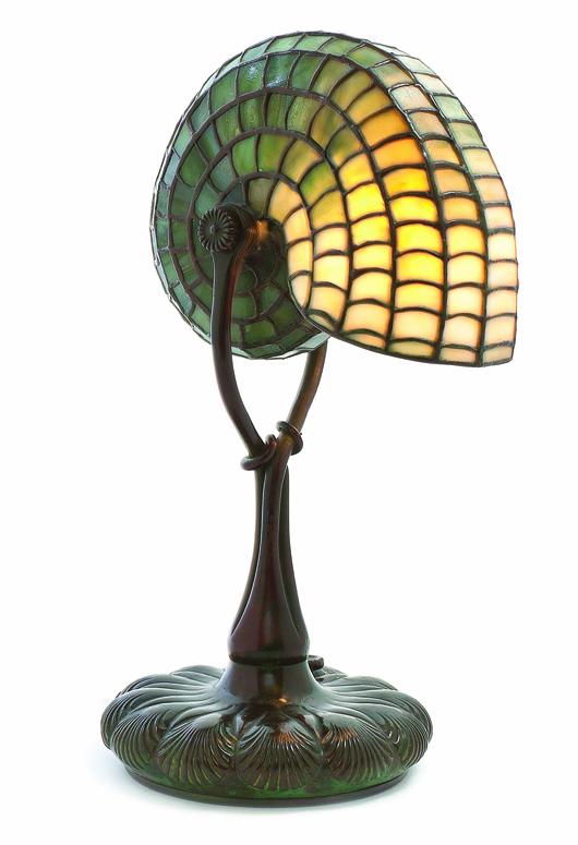 Tiffany Studios Nautilus lamp sold for $25,000. Leslie Hindman Auctioneers image.