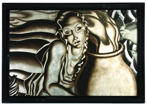The top lot of the sale, an Art Deco painted glass panel attributed to the S.S. Normandie, sailed to $80,500. Leslie Hindman Auctioneers image.