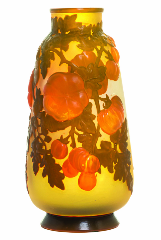 Gallé mold blown vase sold for $15,000. Leslie Hindman Auctioneers image.