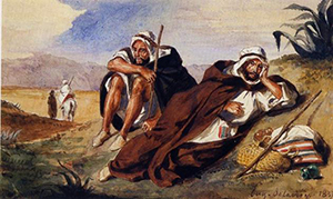 Eugene Delacroix (French, 1798-1863), 'Les Arabes d'Oran,' watercolor, signed and dated lower right 1837. Photo: Galerie Schmit.