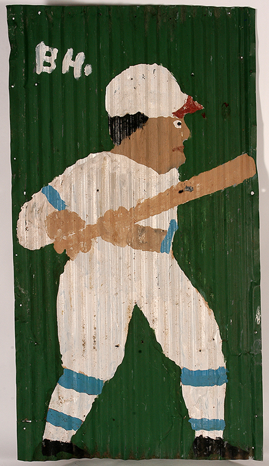 Sam Doyle, 'Baseball Player,' paint on corrugated tin, 7 inches by 48 inches high. Estimate: $10,000-$15,000. Slotin Auction imge.
