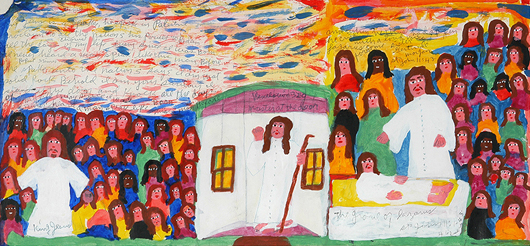 Sister Gertrude Morgan, 'The Rising Of Lazarus,' circa 1970-75, acrylic and ink, watercolor on found paper. Frame is 32 inches wide by 17 inches high. Estimate: $12,000-$16,000. Slotin Auction image.