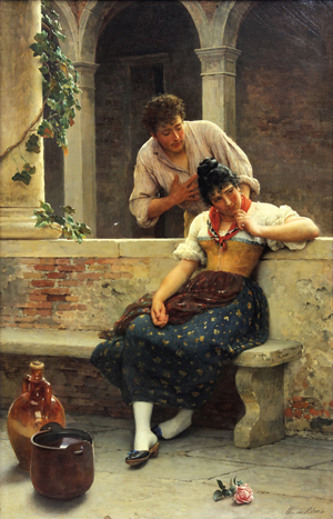 One of the finest works by Eugène de Blaas (Austrian/Italian, 1843-1932) titled 'The Proposal' will be offered by Clars Aution Gallery. Estimate: $200,000-$300,000. Clars Auction Gallery image.
