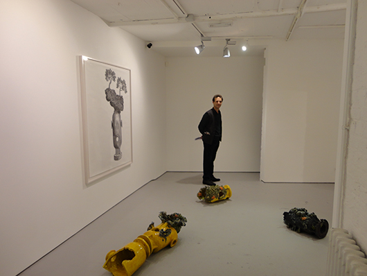 Berlin-based artist Benedetto Pietromarchi at his exhibition at London's Josh Lilley Gallery. Image: Auction Central News.