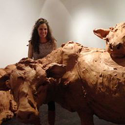 British artist Stephanie Quayle with her clay cattle installation at the T.J. Boulting Gallery during London's Frieze week. Image: Auction Central News.