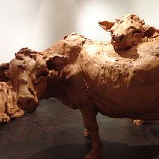 A detail of the life-size installation of clay cattle by Isle of Man-based sculptor Stephanie Quayle at the T.J. Boulting Gallery. Image: Auction Central News.