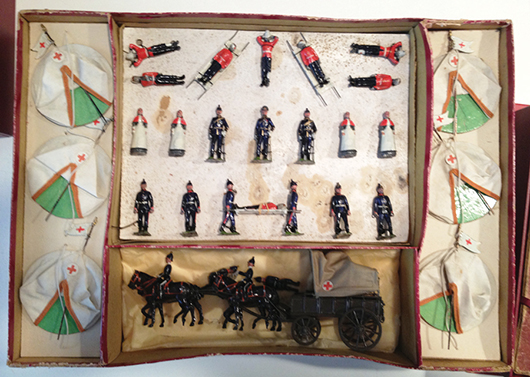 St. John's Ambulance Brigade & Medical Encampment set, made by Britains and marketed under the Centando brand. Old Toy Soldier Auctions image.