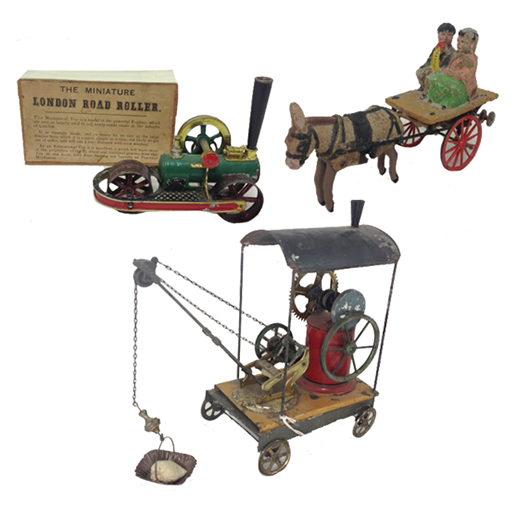 Roller, $3,000-$4,000; circa-1899 Steam Crane, $2,000-$3,000; Galloping Donkey, $1,200-$1,600. Old Toy Soldier Auctions image.