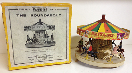 Extremely rare Britains Roundabout Set 1439 in original box. Est. $6,000-$9,000. Old Toy Soldier Auctions image.
