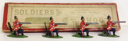 Britains Set 25, Soldiers That Shoot, with spring-loaded guns, among the first figures produced as working toys. Est. $3,000-$5,000. Old Toy Soldier Auctions image.