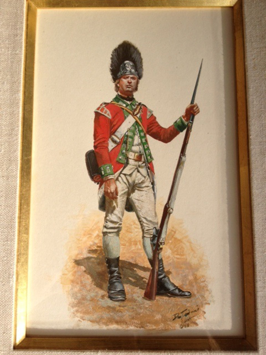 One of two original watercolors by artist Don Troiani, a renowned expert on early military uniforms. Old Toy Soldier Auctions image.