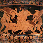 Detail of the decoration on the famous Euphronios Krater, which was once in the collection of the Metropolitan Museum of Art. Image by Jaime Ardiles-Arce. Courtesy of Wikimedia Commons.