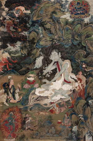 Thangka embroidered picture of a yogi, 127 by 86 cm (50 3/4 inches by 34- 1/2 inches). Estimate £60,000-£80,000. Dreweatts & Bloomsbury Auctions image.