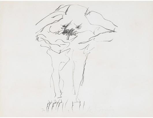 Willem de Kooning, Untitled (Clam Digger). Estimate: $3,000-$5,000. Rago Arts and Auction Center image.
