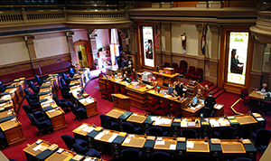 Senate Chamber, Colorado State Capitol Building, Denver, Colorado. Photo by Greg O'Beirne, licensed under the Creative Commons Attribution-Share Alike 3.0 Unported license.