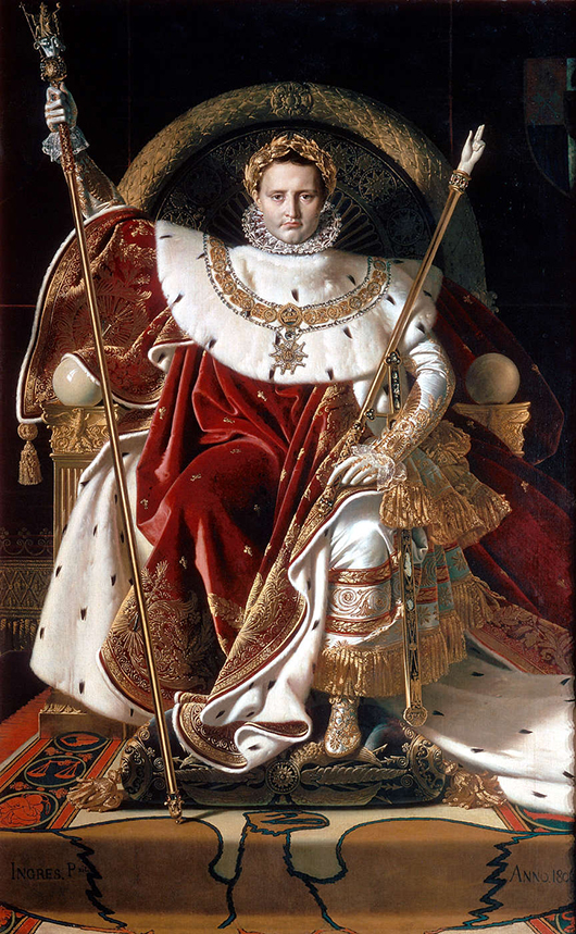 Napoleon on his Imperial throne, 1806 painting by Jean Auguste Dominique Inges (French, 1780-1867). Collection of Musee de l'Armee.