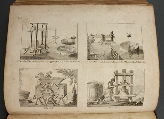 'A Practical Treatise on Brewing, Distilling, and Rectification…' detailing various processes for the creation of alcoholic beverages, published 1805. Est. $600-$900. Waverly's image.