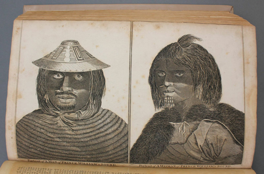 Plates of a man and woman from Prince William's Sound, Gulf of Alaska, from the atlas titled 'A New, Royal, Authentic, Complete, and Universal System of Geography.' Some plates have 1794 copyright. Est. $1,200-$1,800. Waverly's image.